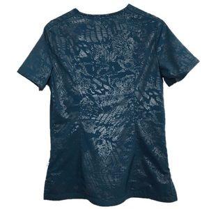 Smitten Tops - Smitten scrub top size small teal metallic print